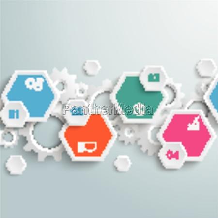 infographic hexagon gears line piad