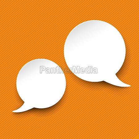 tale og tanke boble etiketter orange