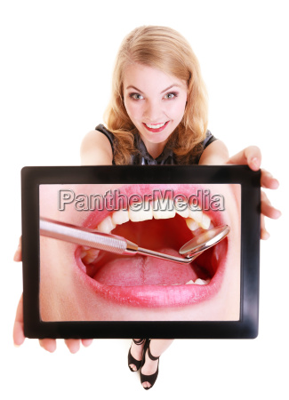girl showing white teeth on the