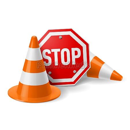 trafik kegler og rode stopskilt
