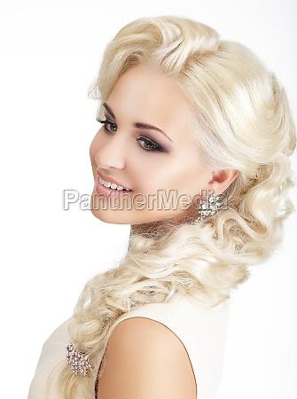 kvinde profil fnise smiler fletning smukke