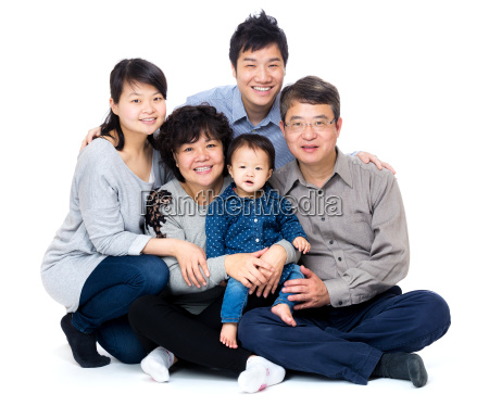 three generation asian family