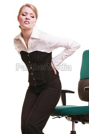 forretningskvinde med rygsmerter rygsmerter isoleret