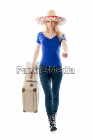 blond girl with suitcase