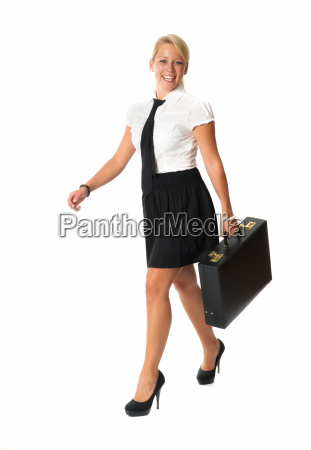 successful businesswoman with briefcase