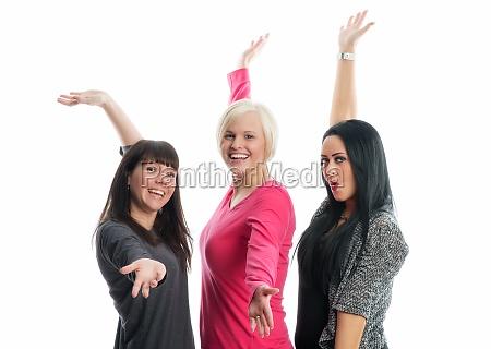 woman present three girlfriends girl girls