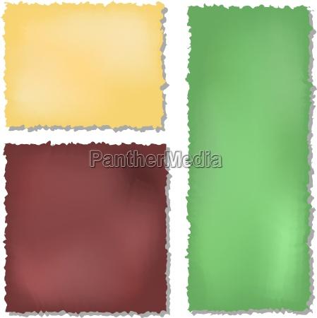 saet med farve grunge papirer baggrund