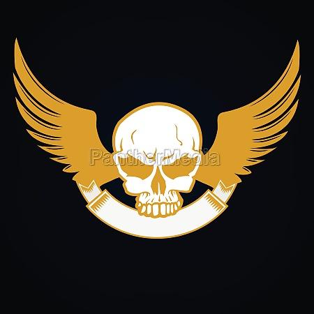 llustration of a skull with emblem