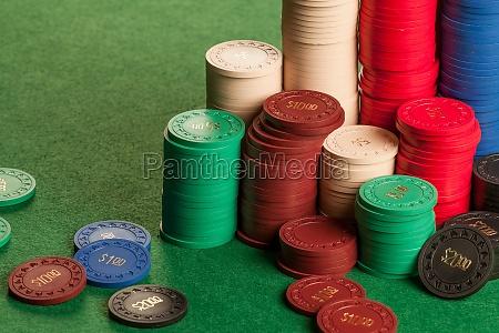 stacks of old poker chips