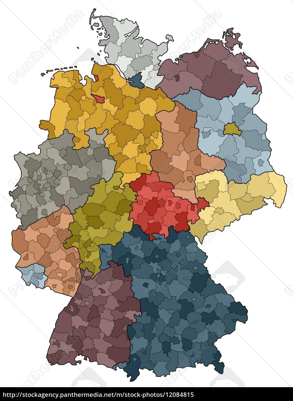 Tyskland Kort Delstater Og Amter Royalty Free Image