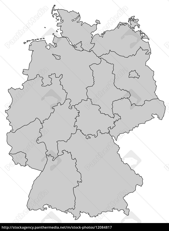 Tyskland Kort Delstater Gra Royalty Free Image 12084817
