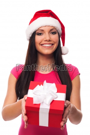 cute woman with santa hat giving
