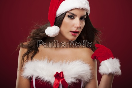 portrait of sexy christmas woman