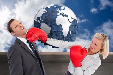 sammensatte billede af forretningskvinde rammer kollega