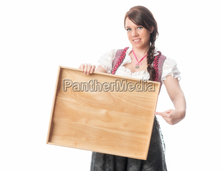 bavarian girl is holding tray