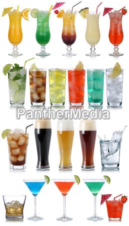 saet af drinks cocktails cola ol