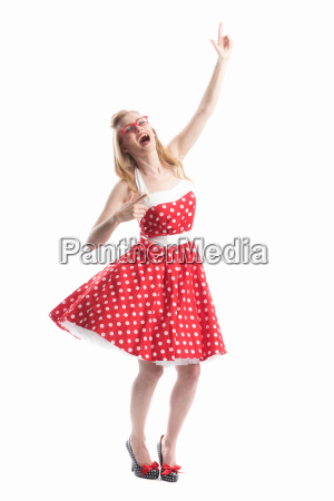 jublende kvinde i rockabilly stil