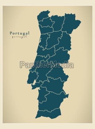 moderne kort portugal distrikter pt