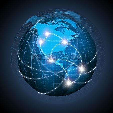 nordamerika und suedamerika verbunden on globe