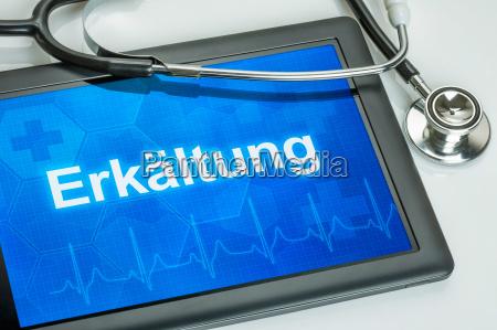 tablet diagnosticeret med kulde pa displayet