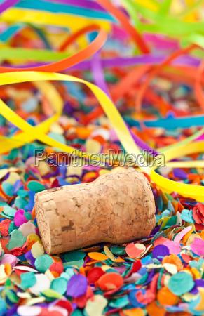champagne kork pa konfetti