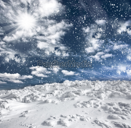 winter landscape with snow covered hill