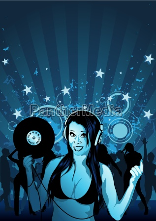 girl dj and grunge background