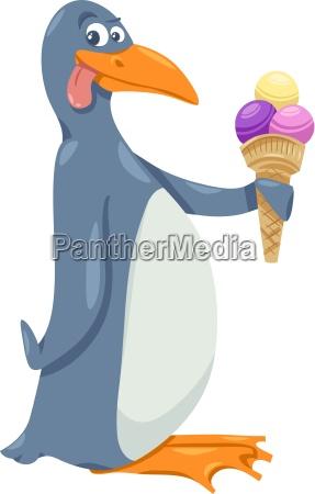 pingvin med is tegneserie