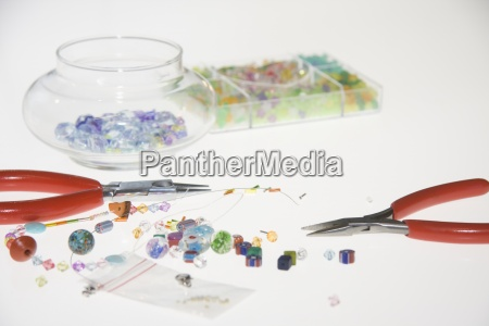 colored beads and tools for making