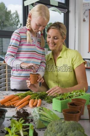 laerer og elever plantning grontsager i
