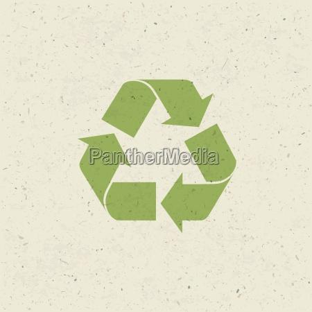 simbolo reciclado en la textura de
