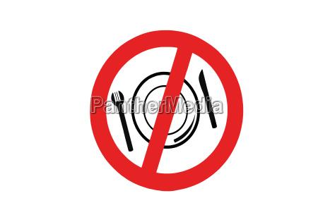 plakat tallerken gaffel ulovligt forbudt spiser