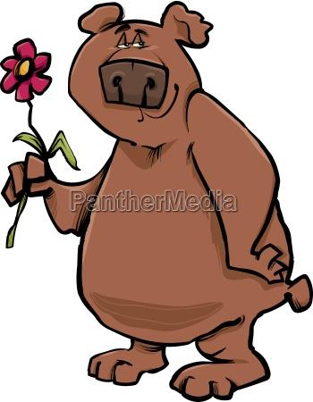 bjorn med blomst cartoon illustration
