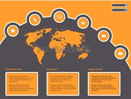 enkelt website design med verdenskort
