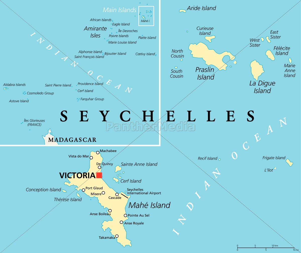 Seychellerne Politisk Kort Stockphoto 13176600 Panthermedia