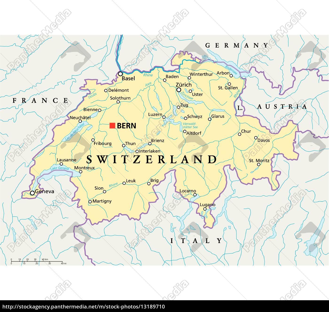 Schweiz Politisk Kort Stockphoto 13189710 Panthermedia