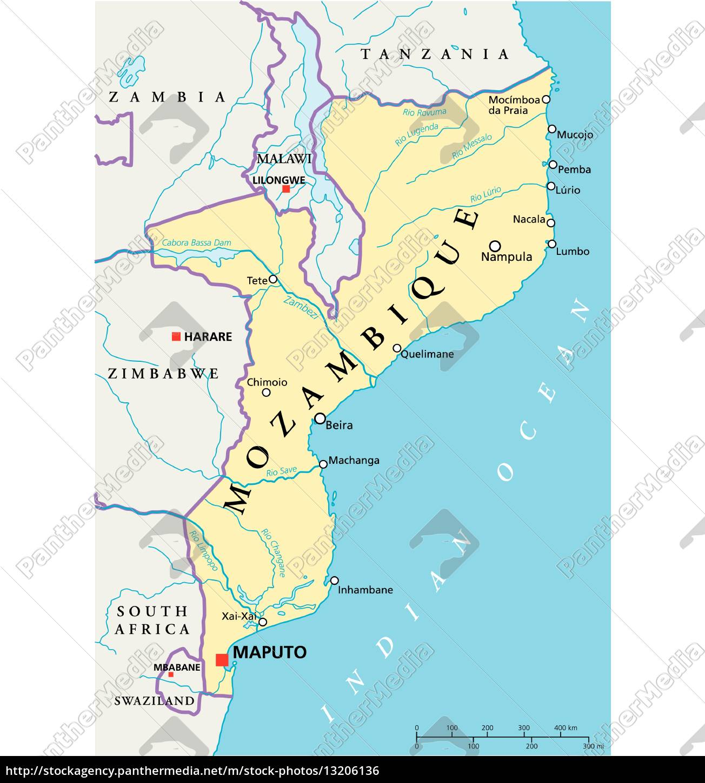 Mozambique Politisk Kort Stockphoto 13206136 Panthermedia
