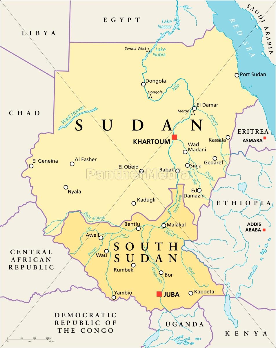 Sudan Og Sydsudan Politisk Kort Stockphoto 13235824