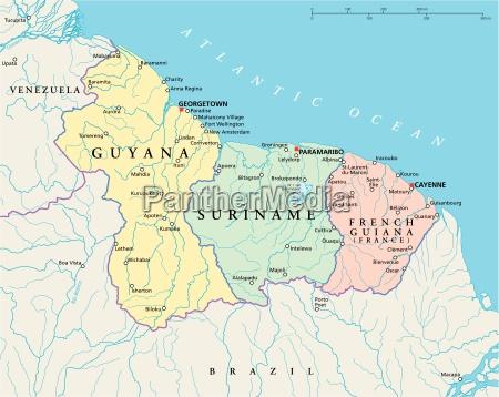 guyana surinam og fransk guyana politisk