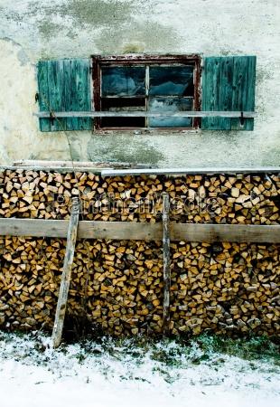 landlig vinter vindue trae stuehus skodder