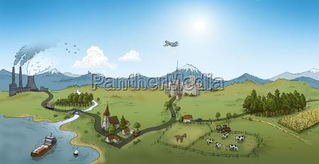 by land flod illustration