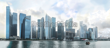 panorama over singapore downtown