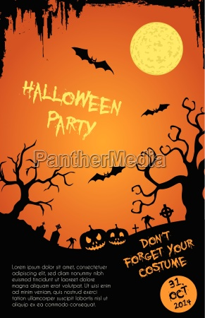 halloween party flyer template orange