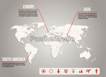 infografik kort world med forskellige ikoner