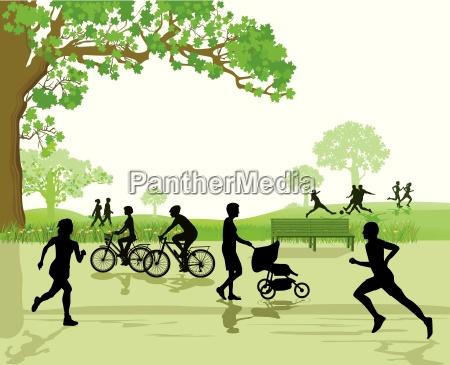 fritid og sport i parken