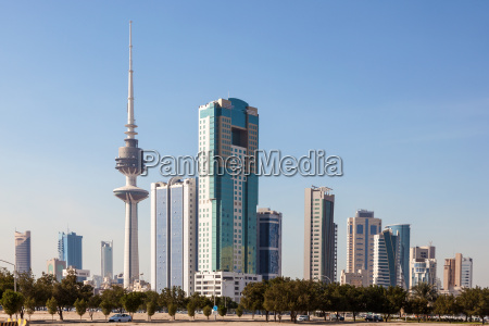 skyline of kuwait downtown with liberation