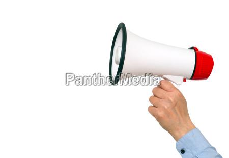 megafon med hand pa hvid baggrund
