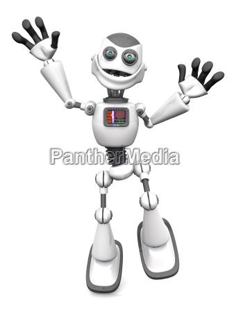 weiss laechelnd cartoon roboter springt vor