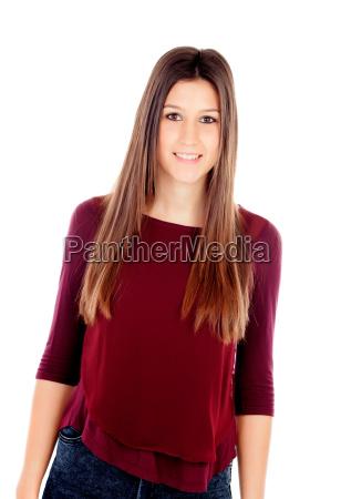 portraet af attraktiv pige med brune
