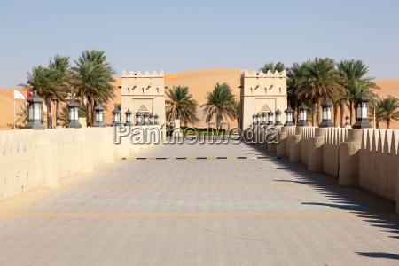 arabian style hotel in the desert